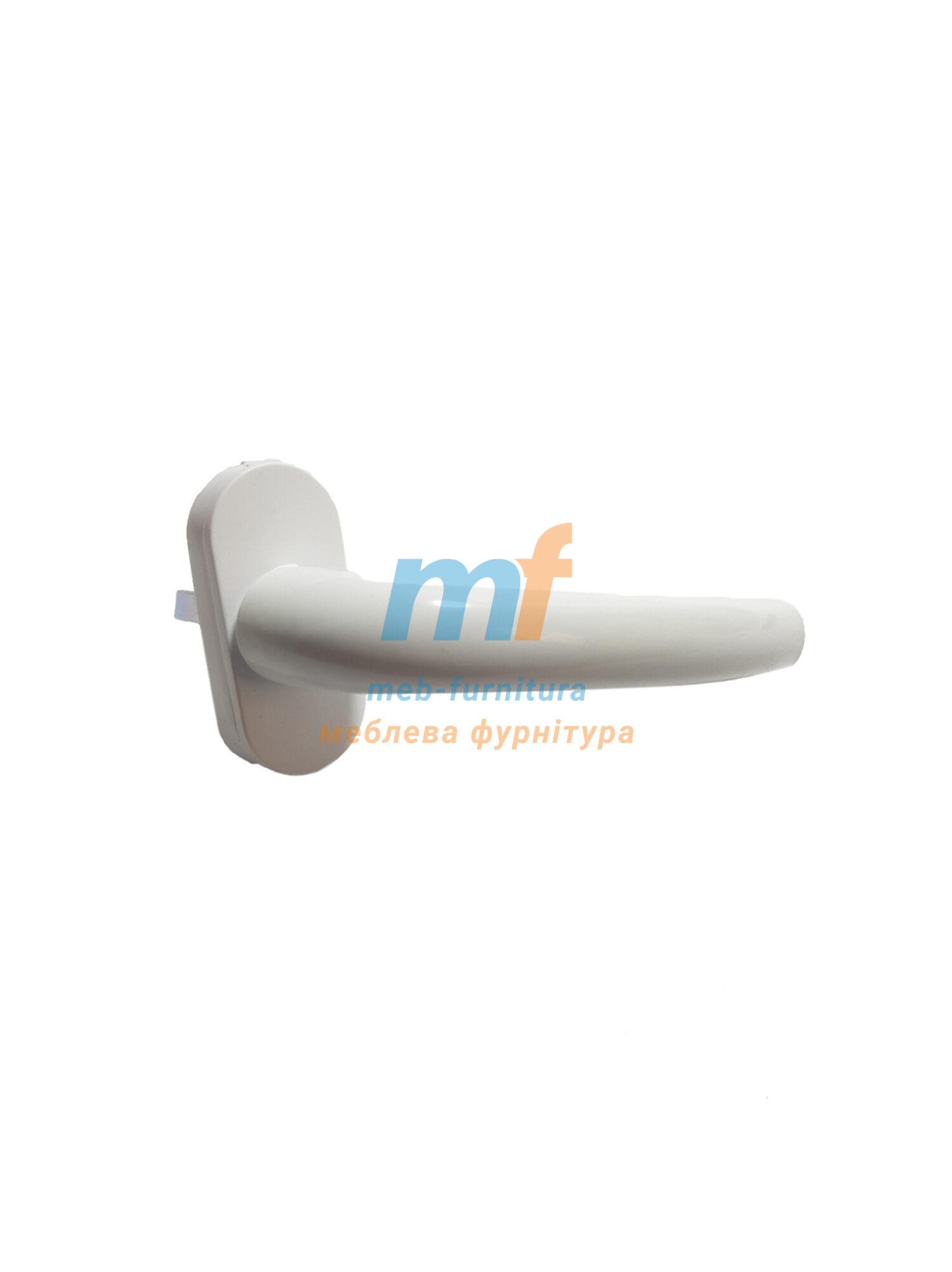Ручка оконная металлическая для металлопластикового окна или двери белая