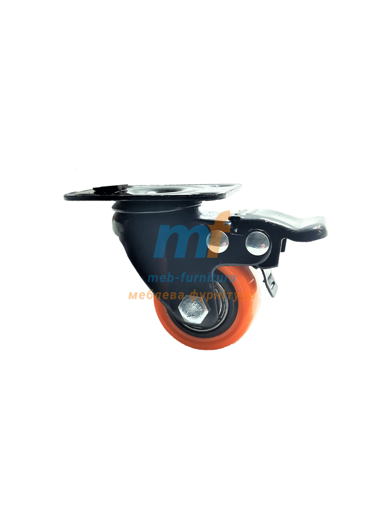 Колесо резина на платформе с фиксатором 40мм (3-001)