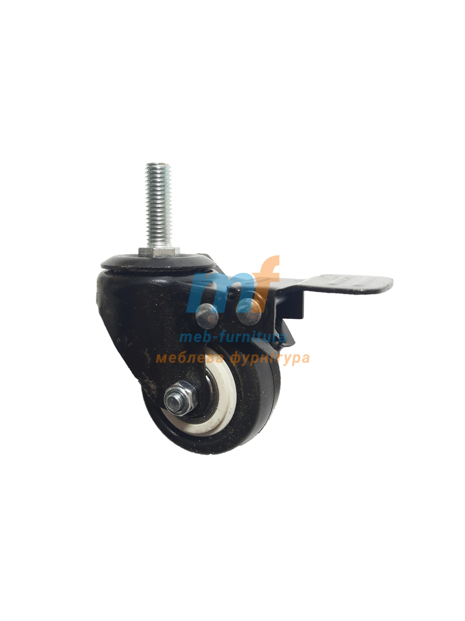 Колесо резина с резьбой М10 с фиксатором 50мм (3-001)