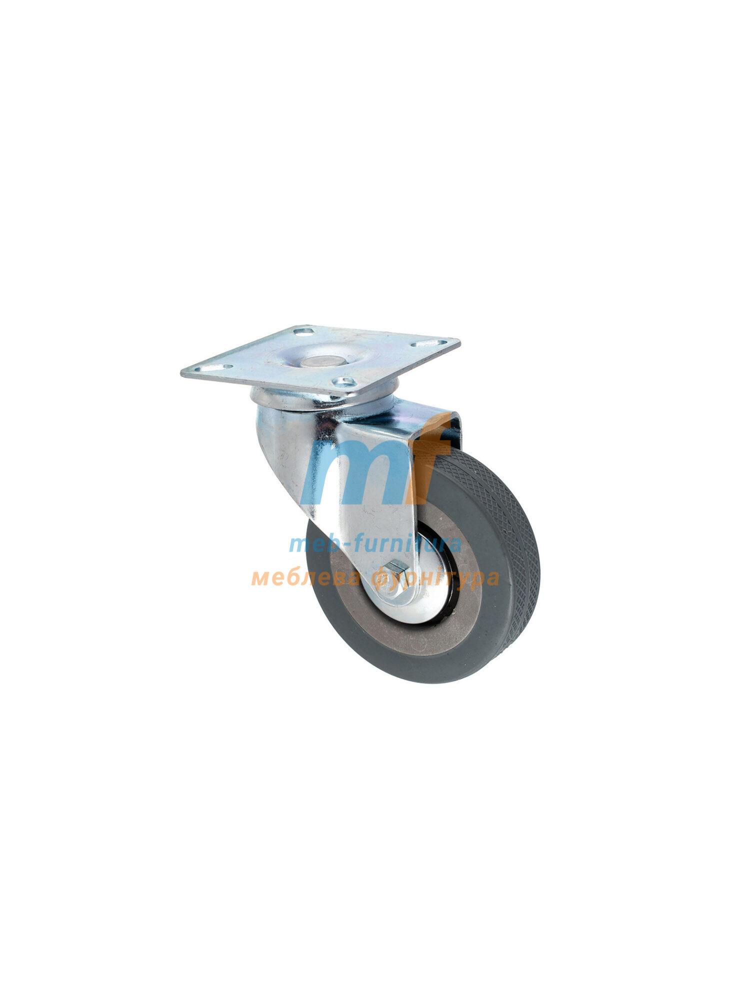 Колесо резина серый на платформе 75мм (3-011)