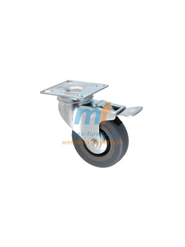 Колесо резина серый на платформе с фиксатором 75мм (3-011)