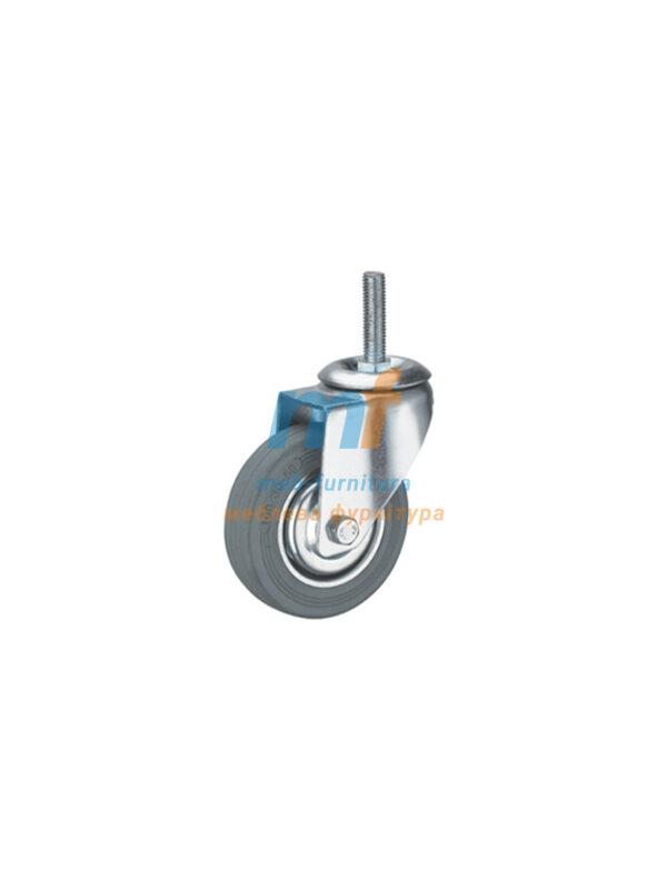 Колесо резина серый с резьбой М8 50мм (3-011)