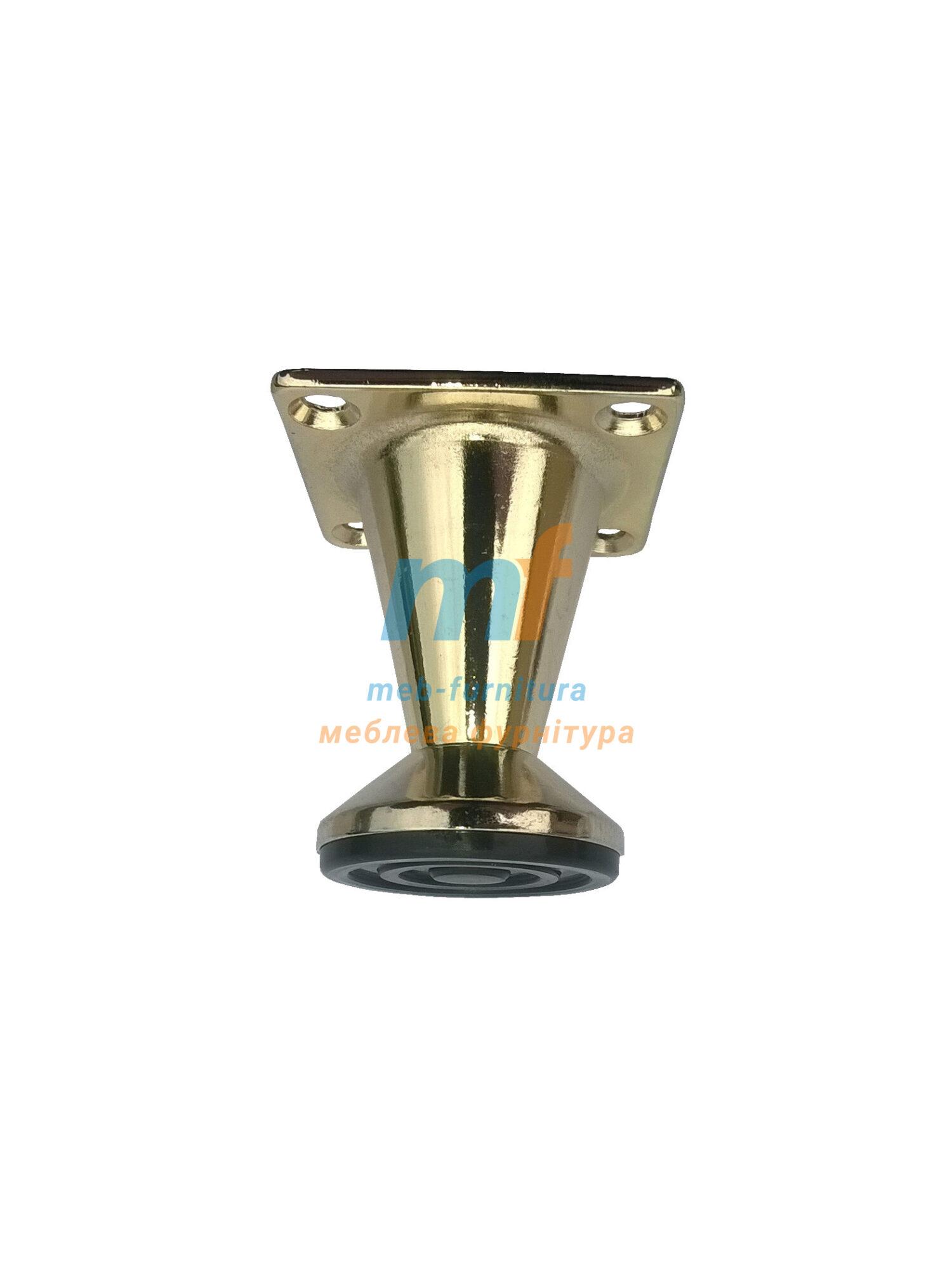 Опора мебельная конусная золото 100мм с регулировкой