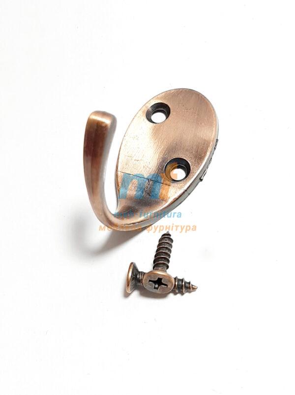 Крючок Косая дырка одинарная - коричневая
