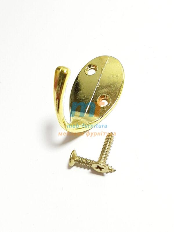 Крючок Косая дырка одинарная - золото