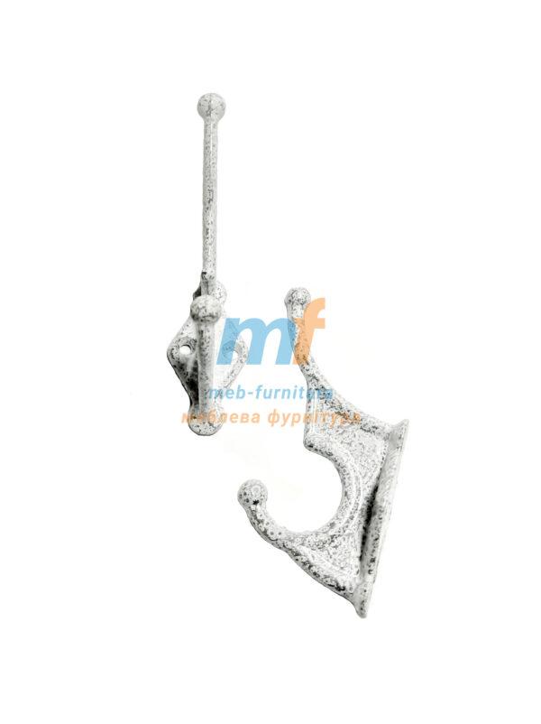 Крючок алюминиевый- белый в точку