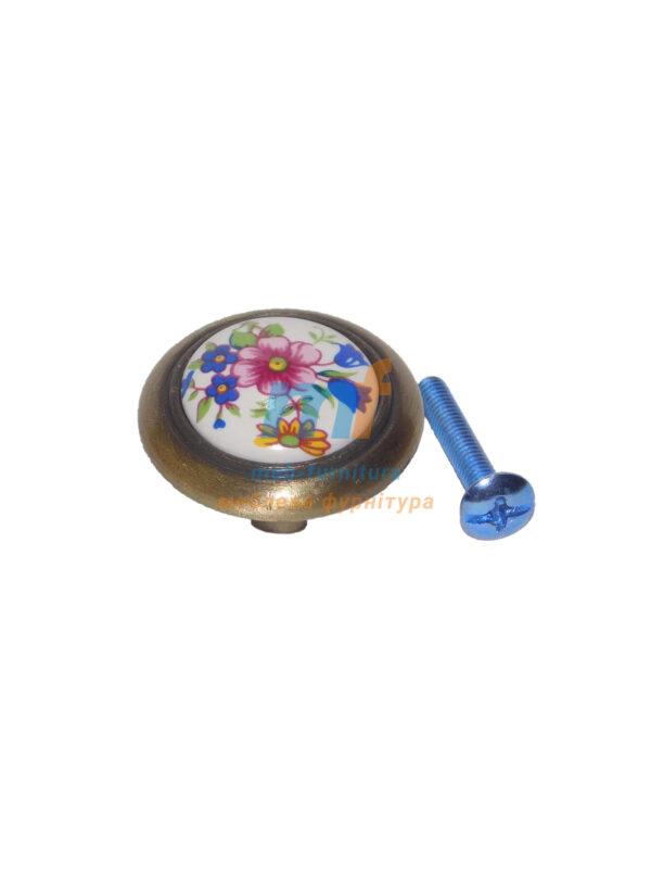 Мебельная ручка Кнопка фарфор 1-516 Бронза