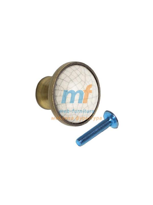 Мебельная ручка Кнопка фарфор 1-518 Бронза