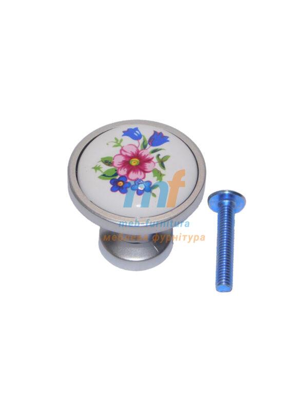 Мебельная ручка Кнопка фарфор K-301 G6 ХРОМ МАТОВЫЙ