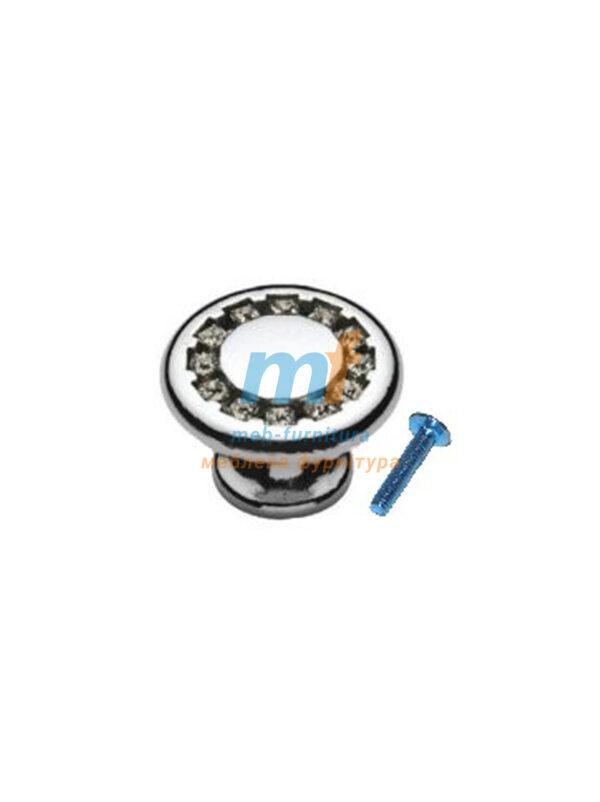 Мебельная ручка Кнопка кристал - 6058-06 хром