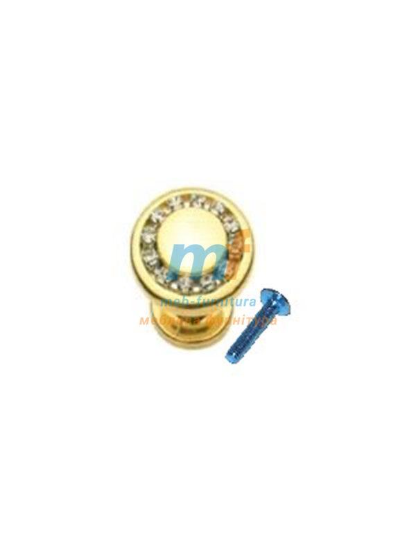 Мебельная ручка Кнопка кристал - 6058-06 матове золото