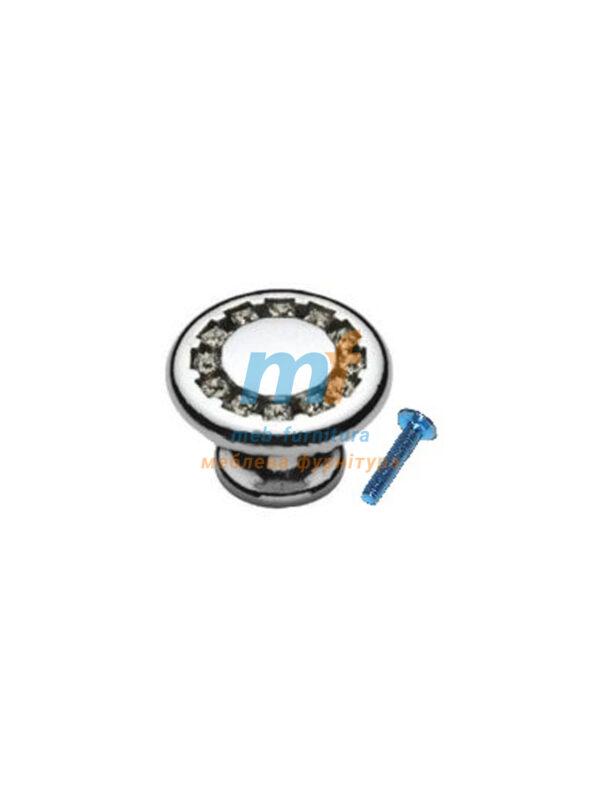 Мебельная ручка Кнопка кристал - 6058-06 матовий чорный