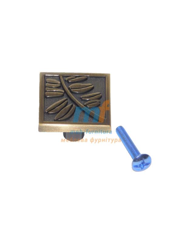 Мебельная ручка Кнопка квадрат K-107 бронза