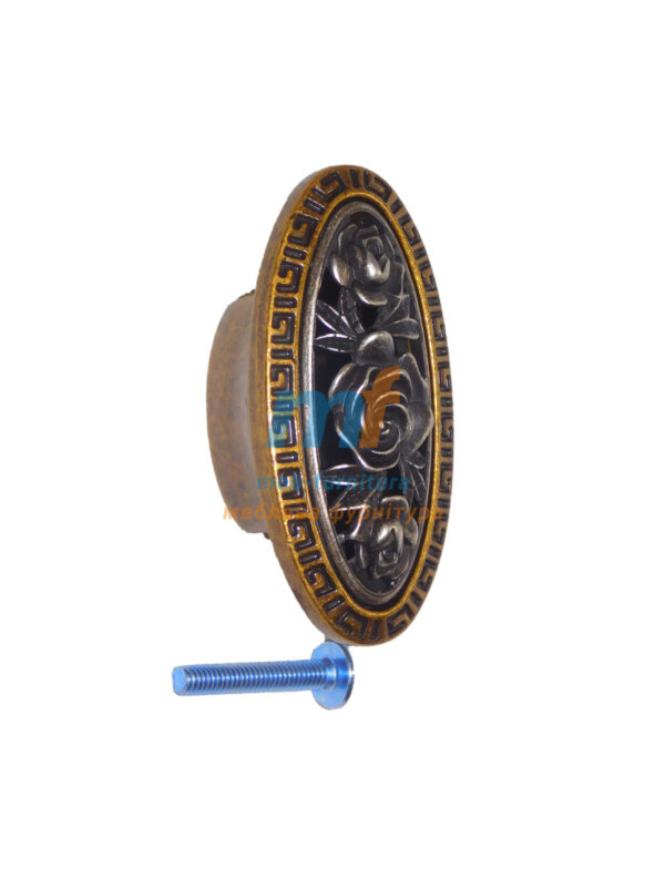 Мебельная ручка Кнопка роза- KR 65 G19 бронза-серебро