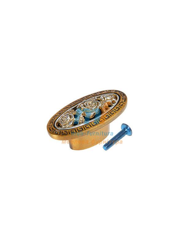 Мебельная ручка Кнопка роза- KR 65 G19 бронза-золото