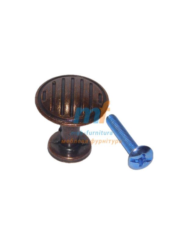 Мебельная ручка кнопка 1-500 Медь