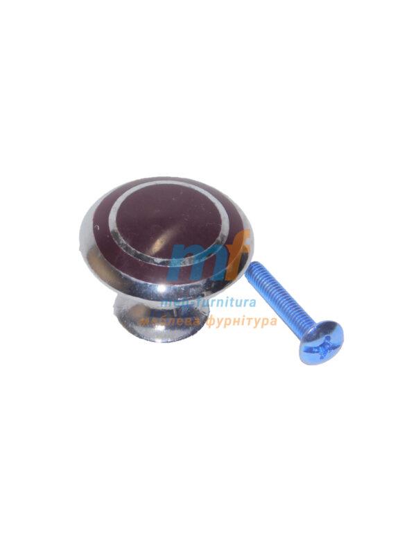 Мебельная ручка кнопка 1-606 хром-коричневая