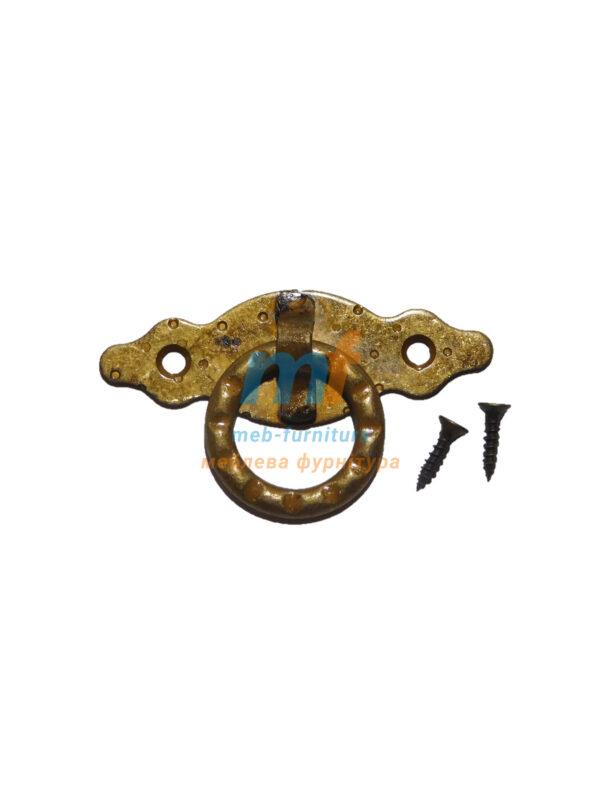 Мебельная ручка на планке AMIG кольцо- Бронза