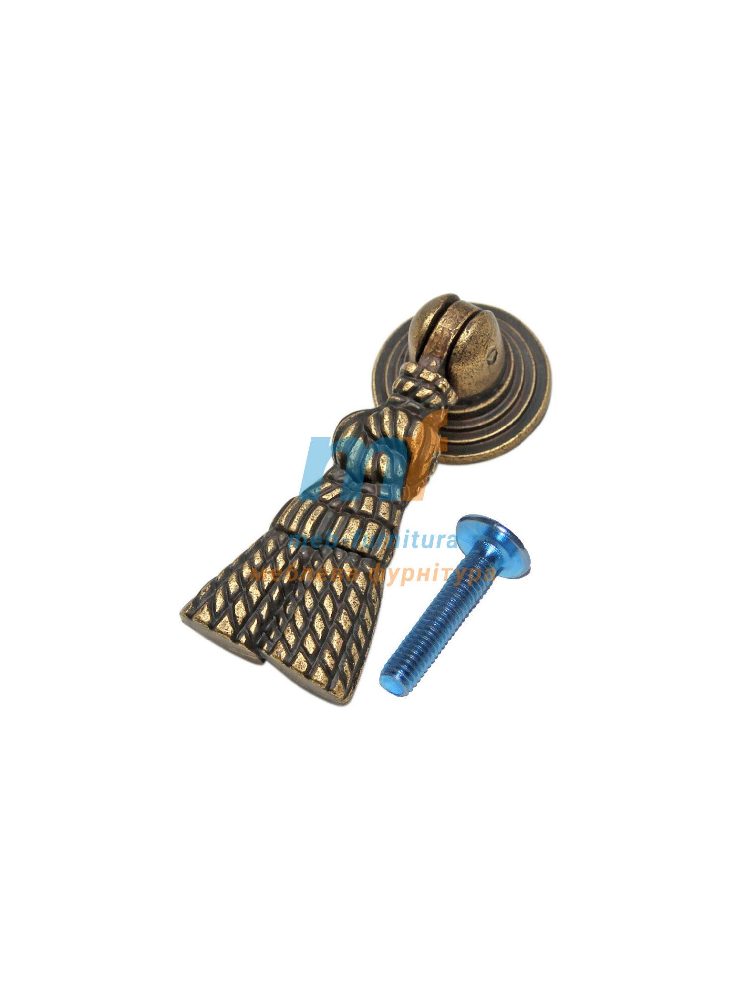 Ручка капля 1401 Веревка - бронза
