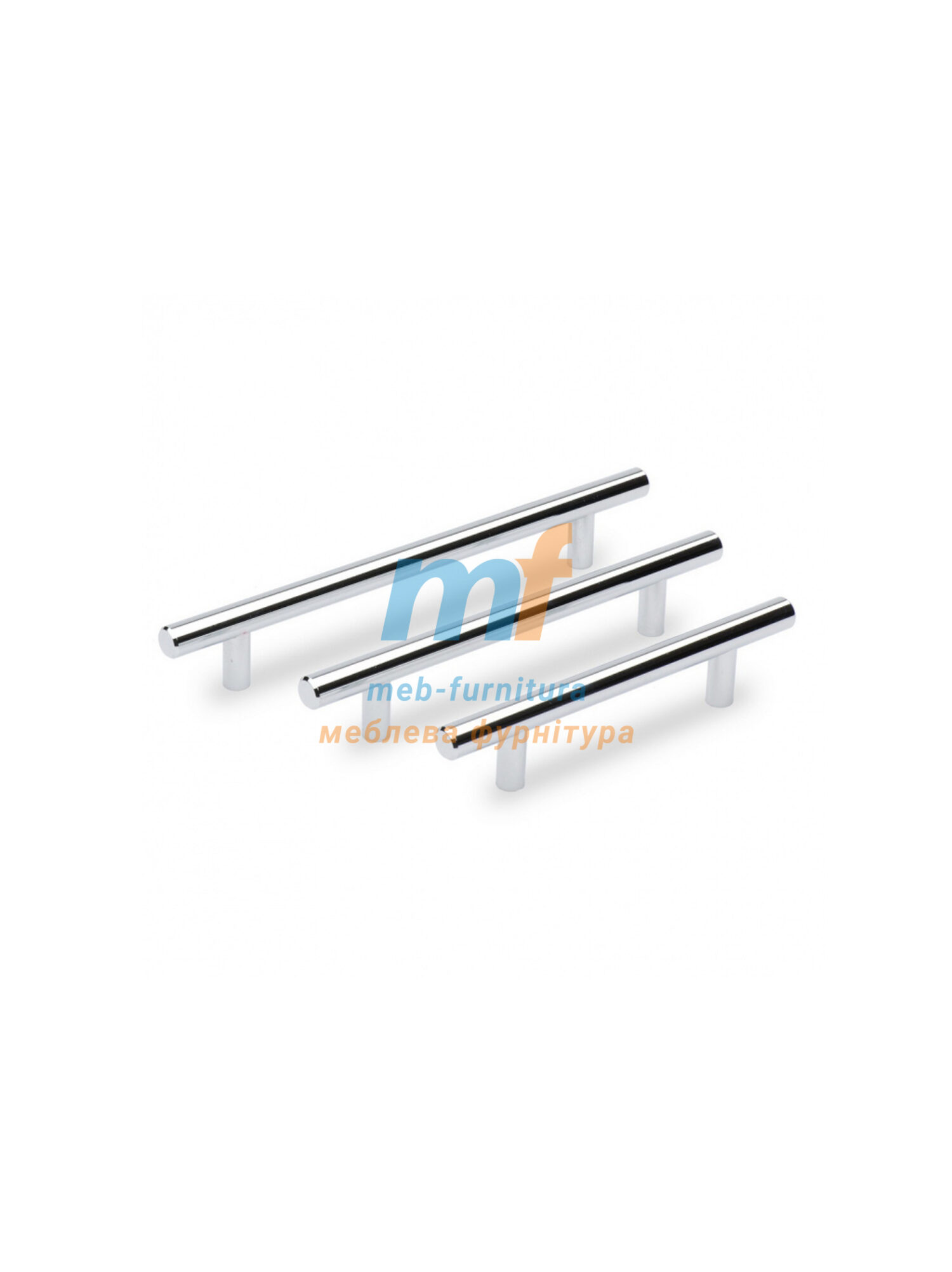 Ручка мебельная релинг 96мм - хром