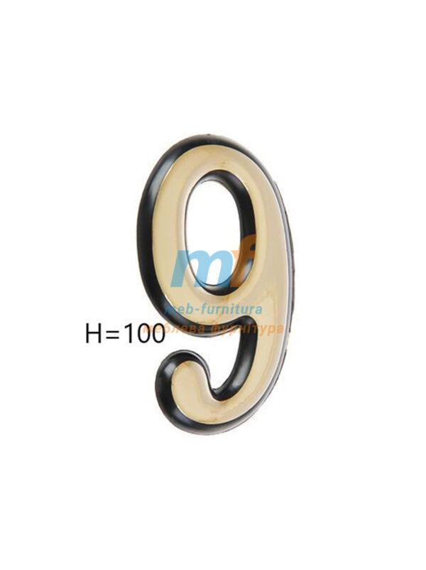 Номерки пластиковые H100мм №9 (золото)